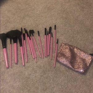 Makeup brushes and bag